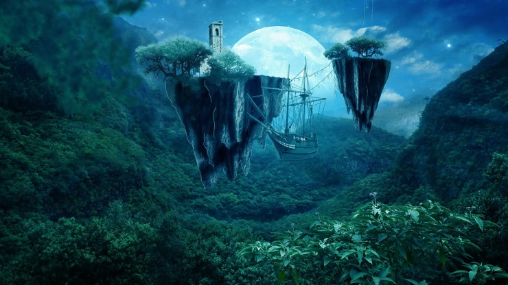 Jungle covered floating islands carry a monastery as a pirate ship circles below.